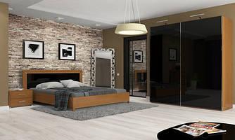 Модульна спальня Белла Миро-Марк глянець чорний+вишня бюзум