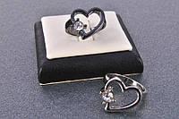 "Кольцо ""Сердце с камнем"" глянцевое покрытие China Jewelry 19 графит 0396-727 (1627)"