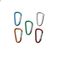 Застежка большая, Карабин, Для ключей, Для сумки, Для бейджа, Металлический сплав, Цвет серебро, 23 mm x 9 mm  Синий