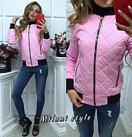 """Женская куртка """"Бомбер""""с довязом, в расцветках, фото 1"""
