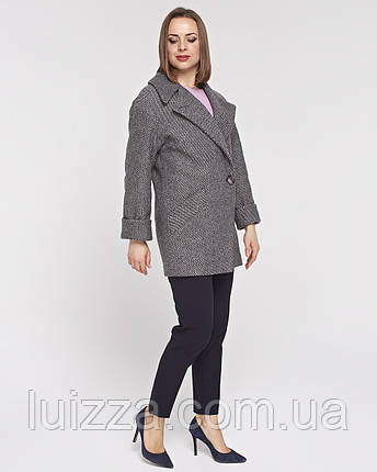 Женское полупальто -пиджак с английским воротом, 42 - 54 р серо-розовое 42, фото 2