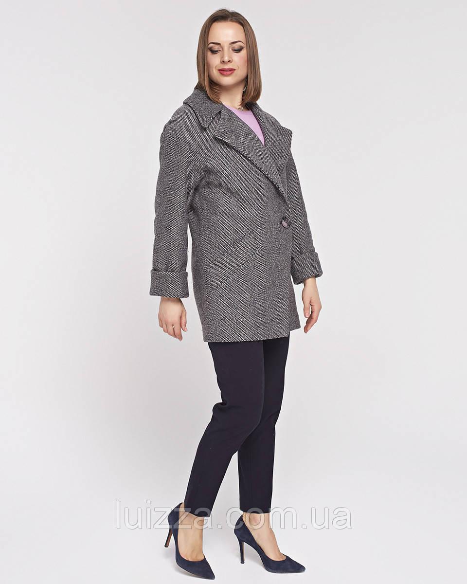 Женское полупальто -пиджак с английским воротом, 42 - 54 р серо-розовое 50
