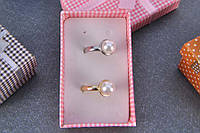 "Кольцо ""Жемчуг"" с искусственным камнем China Jewelry 16 серебро 0460-840 (1592)"