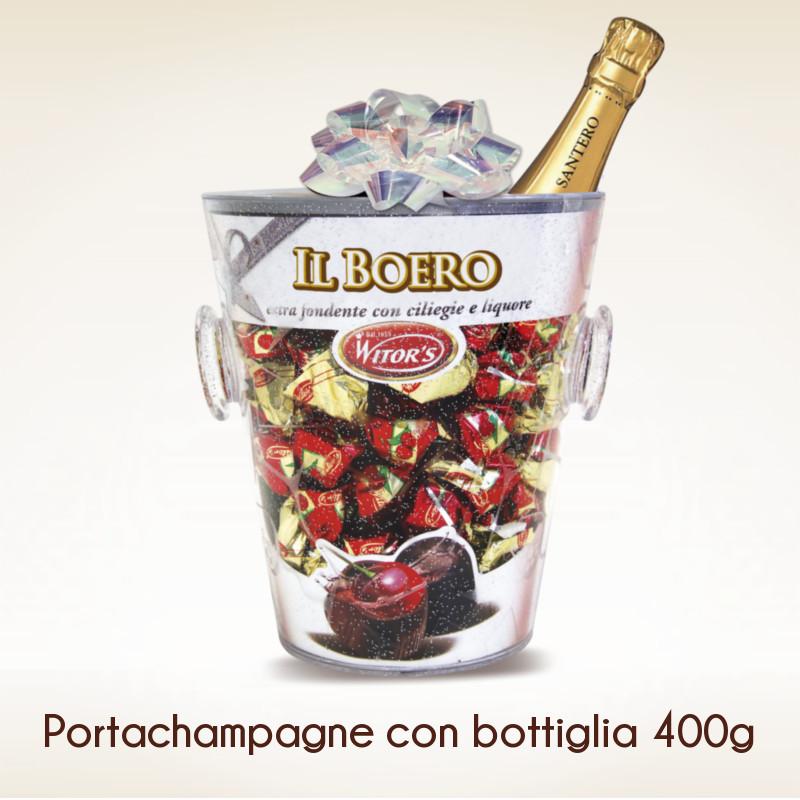 Подарочный набор Шоколадных конфет «Вишня в Ликере» с шампанским «WITORS IL BOERO» Италия