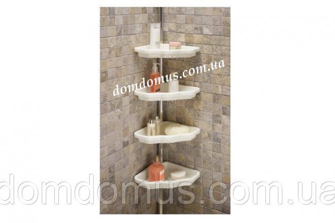 Полка угловая для ванной с телескопической металлической трубой 135-260 см, PrimaNova, Турция, белая