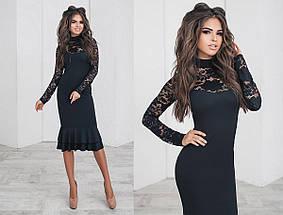 Приталенное платье с гипюровыми вставками, фото 2