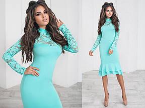 Приталенное платье с гипюровыми вставками, фото 3