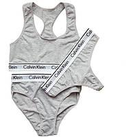 Женский набор нижнего белья Calvin Klein (тройка: топ + брифы + стринги)