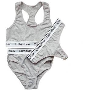 Женский набор нижнего белья в стиле Calvin Klein (тройка: топ + брифы + стринги)