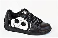 Кроссовки скейтера кожа мужские женские подростковые черные большой смайл (Код: Б1008)