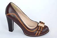 Женские туфли на устойчевом каблуке женские коричневые (Код: М1023) Только 36р