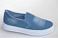 Слипоны мокасины женские на платформе светлый джинс светло синие Польша (Код: М1019)