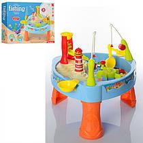 Детский игровой набор - столик Рыбалка, удочка, морские обитатели 6 шт, 24 предмета, музык. и свет., 889-68