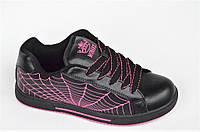 Кроссовки скейтера кожа мужские женские подростковые черные паутина (Код: Т1010)