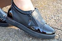 Кроссовки туфли мокасины черные женские удобные и легкие универсальные (Код: Т26) Только 37р!!!