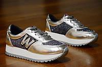 Кроссовки типа   New Balance реплика женские, подростковые серебро хамелион (Код: Ш307). Только 38р!