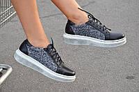 Туфли ботинки кроссовки кожа черные женские с текстильной вставкой (Код: М31)