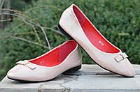 Балетки, туфли женские лаковые бежевые удобные (Код: Б465)