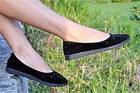 Туфли балетки черные типа замша женские удобные легкие стильные (Код: Б37)