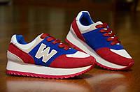 Кроссовки типа   нью беленс женские, подростковые  красные с синим (Код: М305)