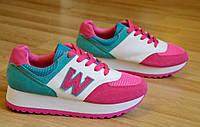 Кроссовки типа   New Balance реплика женские, подростковые на толстой подошве розовые (Код: Ш334)