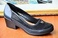 Туфли черные на низком удобном каблуке женские популярные. Только 36р! (Код: Б47)