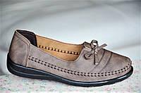 Туфли мокасины коричневые с бантиком женские стильные (Код: Ш39)