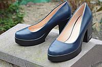 Туфли женские темно-синие на удобном каблуке изысканые (Код: М470) Только 38р!