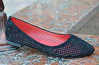 Балетки,туфли женские летние черные искусственная замша, не жаркие (Код: М642а) Только 37 и 40р!