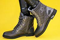 Ботинки полуботинки женские темно серые Шанель (Код: Ш170) Только 39р!