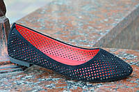 Балетки,туфли женские летние черные искусственная замша, не жаркие (Код: Б642а)