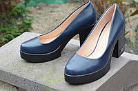 Туфли женские темно-синие на удобном каблуке изысканые (Код: Т470) Только 38р!