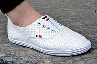 Кроссовки, мокасини женские белые удобные для прогулок (Код: Б580а)
