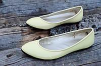Балетки женские бледно желтые кожзам лак стильные практичные Львов (Код: Б728)
