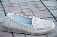 Туфли, мокасины женские кожаные цвет беж мягкие легкие (Код: Т585а)