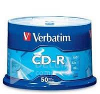 Диск для запису CD-R Verbatim Extra Wrap, Printable, 700 Mb, швидкість 52x, 50 штук, носії інформації