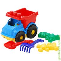 """Машина """"Тотошка"""" самосвал №2: машинка, лопатка и грабельки (ЛГ4), две большие пасочки (П4) COLORplast"""