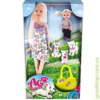 Набор с куклой Асей 'Семейная прогулка'; 28 см; блондинка; и маленькой куклой 11 см; вариант 3