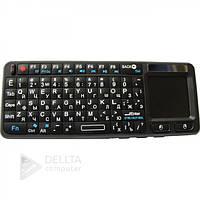 Клавіатура бездротова Unbranded mini 106RF wireless mini, підсвічування, 151х59х12.5 мм, колір чорний, вага 150 г, сенсорна панель з лазерною указкою