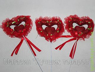 Сердце на палочке красные с розочками
