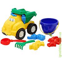 """Машина """"Смайл"""" самосвал №3: машинка, ведёрко, лопатка и грабельки (ЛГ3) и три пасочки (П3) COLORplast"""