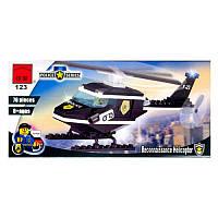 Конструктор BRICK 123 (80шт) вертолёт полиции, 46 деталей,19-9-4,5см