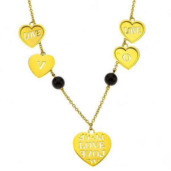 Колье Love золото с черными бусинами  P000344