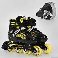 """Ролики 5800 """"М"""" Best Rollers /размер 35-38/ цвет-ЖЁЛТЫЙ (6) колёса PU, переднее колесо свет, в сумке d=7cм"""