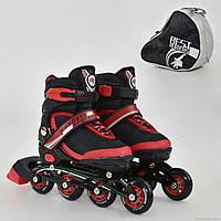 """Ролики 9001 """"S"""" Best Rollers цвет-КРАСНЫЙ /размер 31-34 (30-33)/ (6) колёса PU, без света, в сумке, d=6.4 см"""