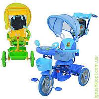 Велосипед три колеса, метал., 2 цв:голуб/зел,муз.свет,колясочн.ручка,рюкзак