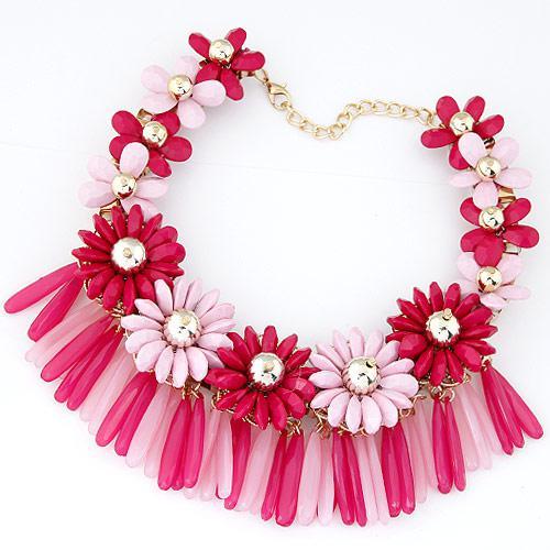 Колье Цветы розовые объемное P001749