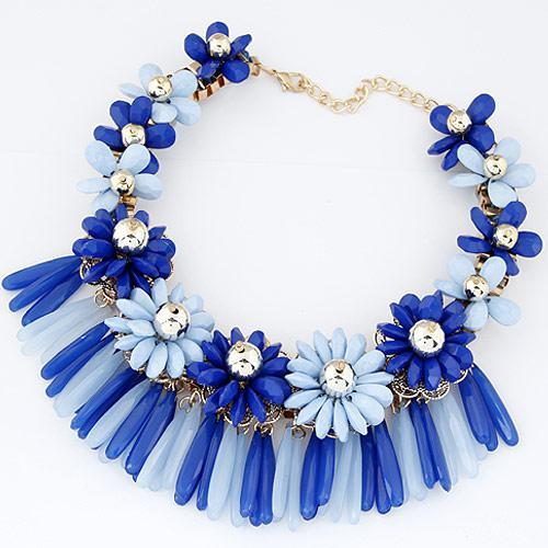 Колье Цветы синие объемное  P001750