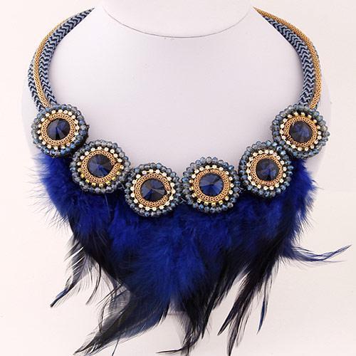 Колье перья синее  P001830