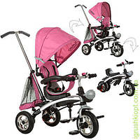 Велосипед три кол.резина, трансформер(беговел), поворот, быстросъем.колеса, розовый